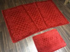ROMANY GYPSY WASHABLE NICE NON SLIP SETS OF 4 MATS RED NEW CHEAPEST AROUND